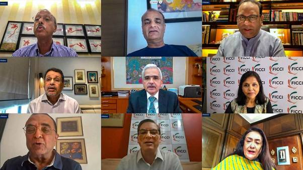 RBI Governor Shaktikanta Das addressing the FICCI National Executive Committee meeting, via video conferencing, in New Delhi on Wednesday.