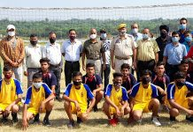 Dignitaries of the tournament along with players posing for a group photograph at Khel Gaon Nagrota, Jammu.