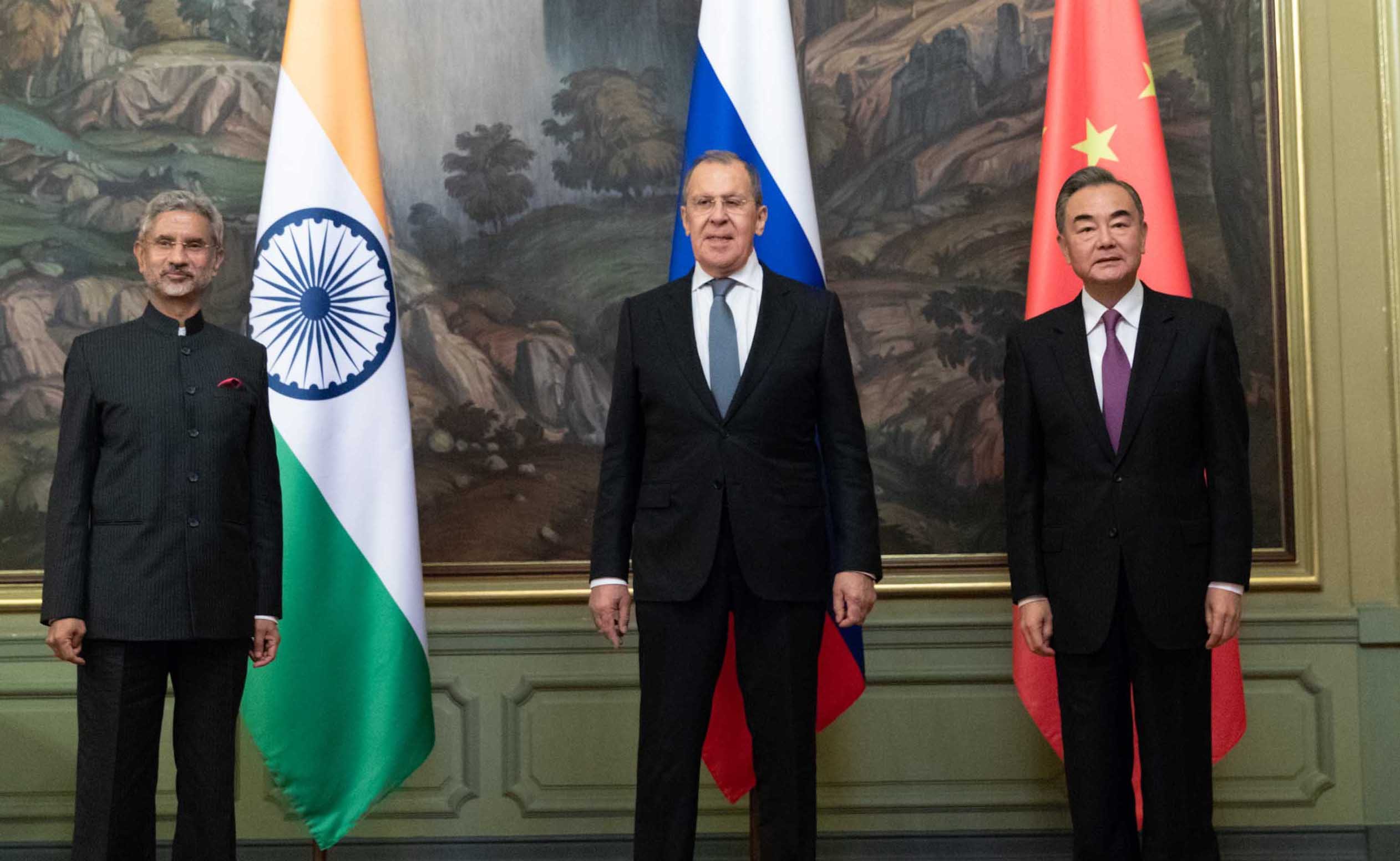 Chinese State Councilor and Foreign Minister Wang Yi (R) meeting with Russian Foreign Minister Sergei Lavrov (C) and Indian External Affairs Minister Subrahmanyam Jaishankar in Moscow, Russia. (UNI)