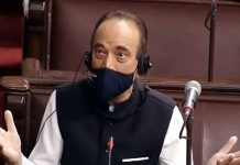 Congress MP Ghulam Nabi Azad speaks at Rajya Sabha on Thursday.