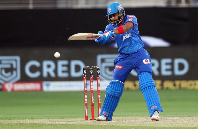 Prithvi Shaw exeucting shot during IPL match against CSK , in Dubai, on Friday.