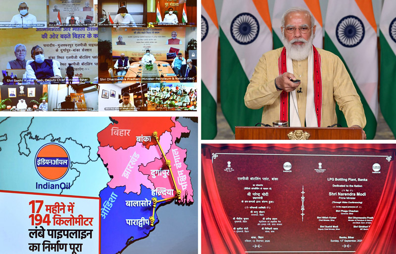 Prime Minister Narendra Modi addressing at the dedication of three key projects related to the Petroleum sector in Bihar to the nation via video conferencing, in New Delhi on Sunday. (UNI)