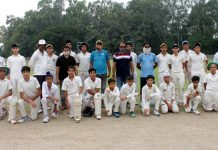Dignitaries and players posing for a group photograph at GGM Science College Hostel Ground, Jammu.