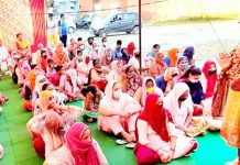 Apni Party leader Namrta Sharma addressing a gathering of women in Jammu.