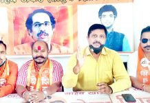 Shiv Sena leaders addressing a press conference at Jammu on Wednesday.
