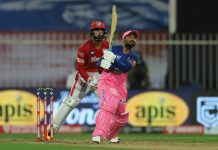RR's Rahul Tewatia hitting a six in a match against KXIP on Sunday.