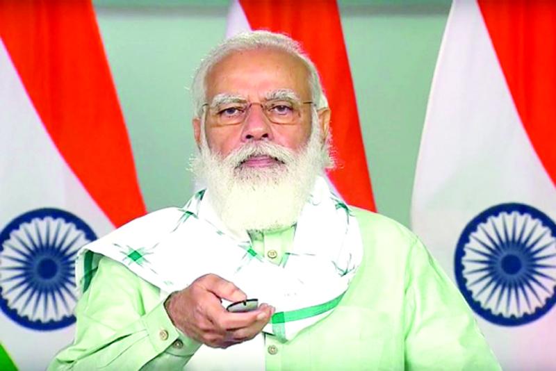 PM Narendra Modi virtually inaugurates development works that will benefit Gujarat, in New Delhi on Saturday.