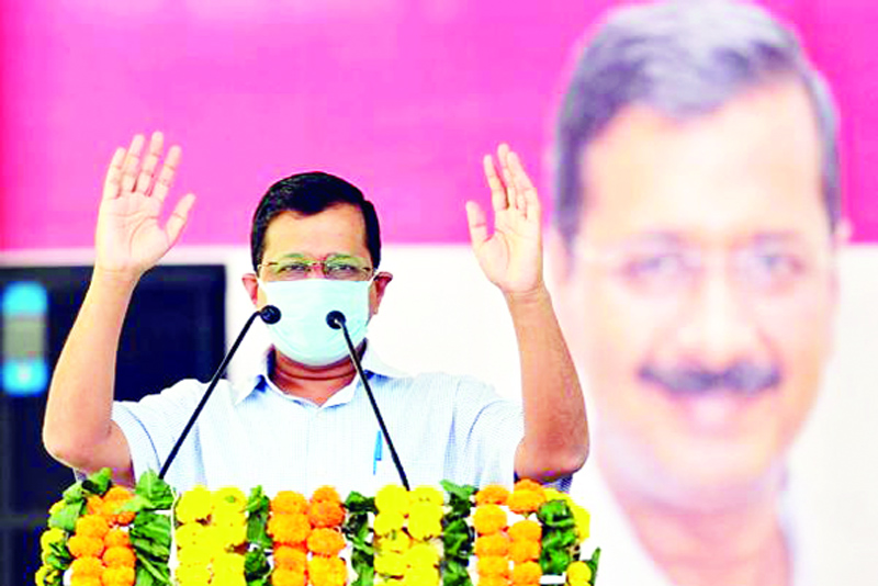 Delhi Chief Minister Arvind Kejriwal addresses a gathering during the inauguration of newly-constructed Shastri Park flyover, in New Delhi.