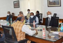 LG Manoj Sinha chairing a meeting on Friday.