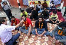 JJSF activists performing Havan at Shaheedi Sthal, GGM Science College in Jammu. —Excelsior/Rakesh