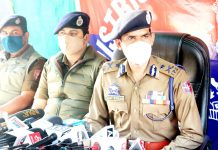 IGP Vijay Kumar addressing a press conference in Srinagar on Friday. -Excelsior/Shakeel
