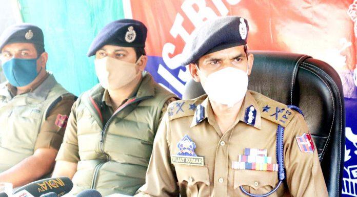 IGP Vijay Kumar addressing a press conference in Srinagar on Friday. -Excelsior/Shakeel
