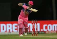 Ben Stokes playing a shot in a IPL match against Mumbai Indians on Sunday.