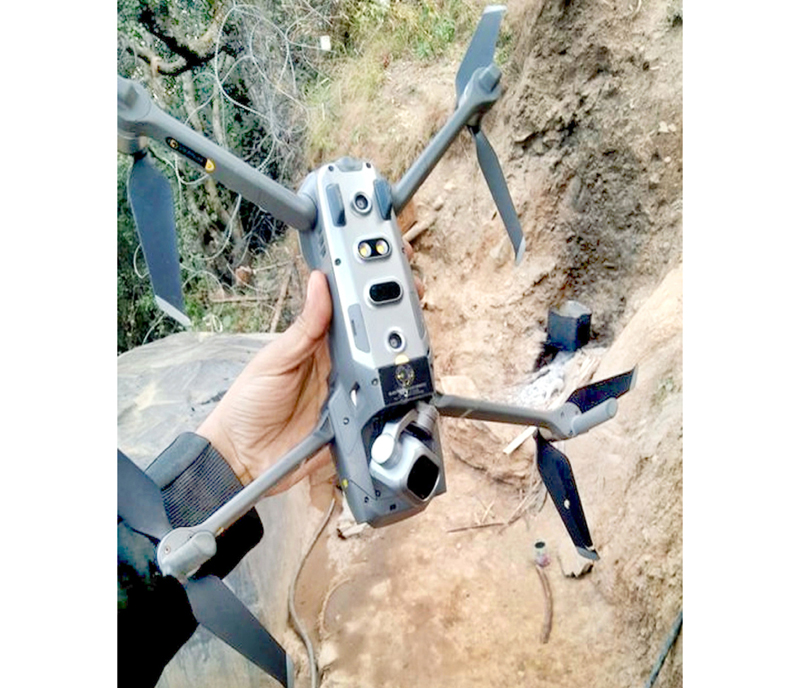 A quadcopter at the Line of Control in Keran sector on Saturday. (UNI)