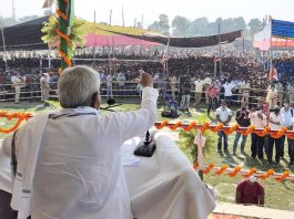 Bihar Chief Minister Nitish Kumar addressing the gathering during an election meeting, in Khagaria on Friday. (UNI)