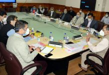 Principal Secretary PDD, Rohit Kansal chairing a meeting at Srinagar on Sunday.