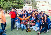 Winning team celebrating title trophy along with dignitaries of the tournament on Thursday.