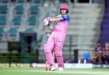 Ben Stokes playing a shot during IPL Match against Kings XI Punjab on Friday.