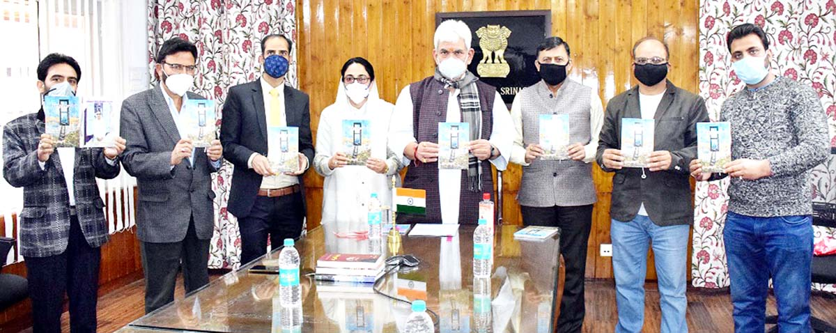 Lt Governor Manoj Sinha and other dignitaries releasing poetry collection by Dr. Darakhshan Andrabi on Sunday.