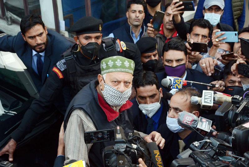 NC president Dr Farooq Abdullah speaks to media outside the ED office in Srinagar on Monday. —Excelsior/Shakeel