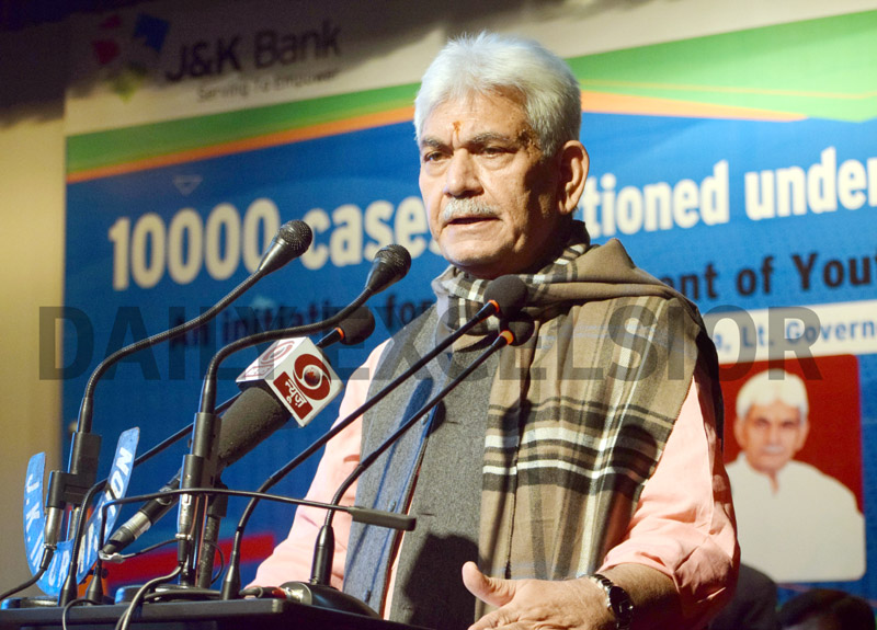 Lieutenant Governor Manoj Sinha addressing a press conference in Srinagar on Tuesday. —Excelsior/Shakeel