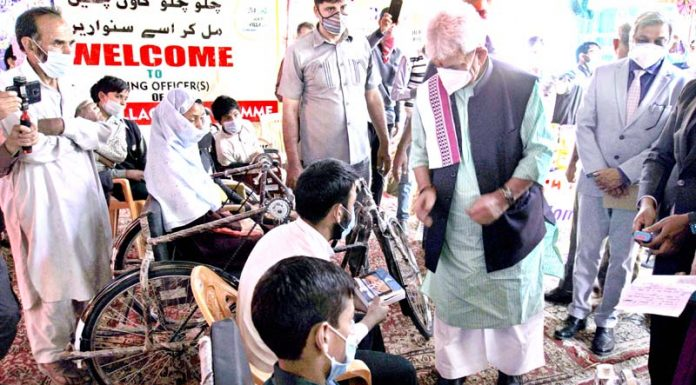 Lieutenant Governor Manoj Sinha during visit to Nesbal in Bandipora on Saturday.