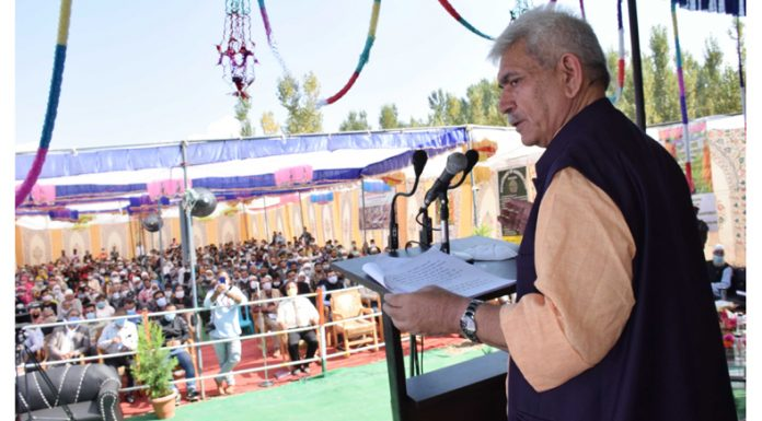 Lieutenant Governor Manoj Sinha addressing people at Ashthal, Kulgam on Sunday.
