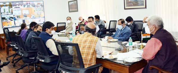 Lieutenant Governor Manoj Sinha reviewing B2V3 achievements in Srinagar on Sunday.