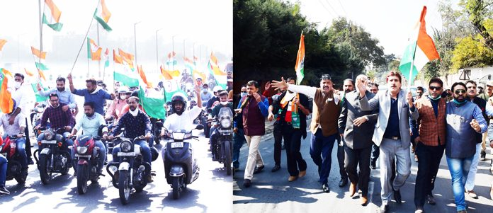 BJYM activists taking out bike rally in Jammu (left) and BJP rally in Srinagar (right) to celebrate Accession Day on Monday. -Excelsior Pics by Rakesh & Shakeel