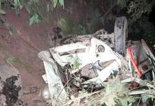 Wreckage of Mahindra mini-load carrier which rolled down into a deep gorge in Arnas area of Reasi on Friday. -Excelsior/Ramesh Mengi