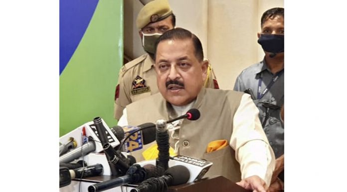 Union Minister Dr Jitendra Singh talking to reporters at Jammu on Thursday. — Excelsior/Rakesh