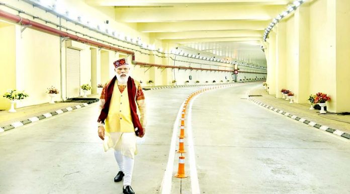 Prime Minister Narendra Modi after dedicating to the nation the World's longest Highway tunnel-Atal Tunnel in Manali, Himachal Pradesh on Saturday.