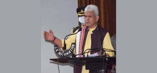 Lieutenant Governor Manoj Sinha addressing a press conference in Srinagar on Thursday.