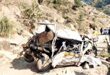 Ill-fated vehicle after accident in district Doda. -Excelsior/Rafi Choudhary
