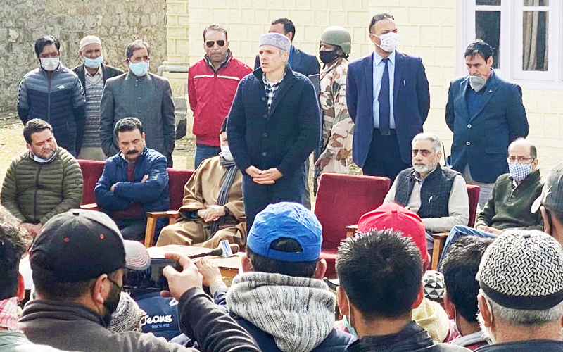 Former Chief Minister Omar Abdullah addressing a public meeting at Drass on Friday. -Excelsior/ Basharat Ladakhi