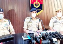 SSP Samba, Rajesh Sharma talking to reporters on Thursday. -Excelsior/Badyal