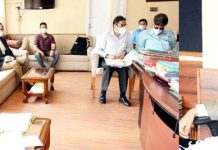 Commissioner Secretary, I&C Department, M K Dwivedi chairing a meeting on Thursday.