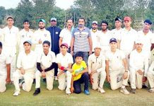 Players along with dignitaries posing for a group photograph at Country Cricket Stadium Gharota, Jammu.