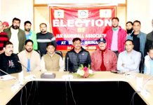 Newly elected office bearers of J&K Handball Association during the meeting at SKICC House, Srinagar.