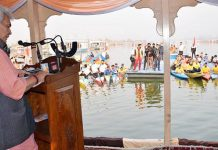 Lt Governor Manoj Sinha inaugurating Water Sports Centre at Nehru Park, Dal lake on Wednesday.