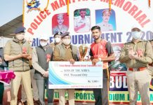 DGP Dilbag Singh presenting Man of the Series award to a player during closing ceremony of Martyrs Cricket Tournament at Budgam on Thursday.