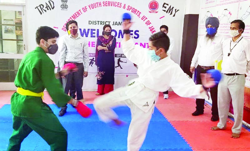 Martial Art players in action during a competition at Traditional Martial Art Academy Jammu.