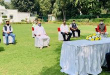 "A delegation of ""All J&K Casual Labourers United Front"" holding a meeting with Union Minister Dr Jitendra Singh, on Saturday."