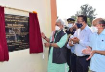 Lt Governor Manoj Sinha inaugurating Agriculture Mall at Talab Tillo, Jammu on Friday.