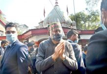 Lok Sabha MP Dr Farooq Abdullah during visit to Durga Nag temple in Srinagar on Saturday. —Excelsior/Shakeel