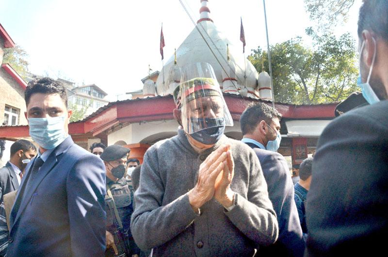 Lok Sabha MP Dr Farooq Abdullah during visit to Durga Nag temple in Srinagar on Saturday. —Excelsior/Shakeel