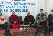 Ladakh leaders at a press conference at Leh on Wednesday. —Excelsior/Morup Stanzin