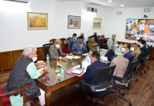 Lt Governor Manoj Sinha chairing a meeting on Friday.
