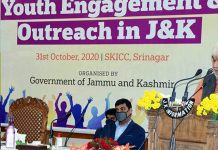 Lt Governor Manoj Sinha speaking during Youth Engagement & Outreach Programme in Srinagar on Saturday.