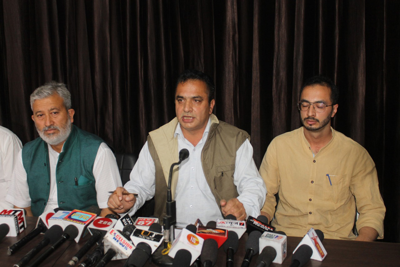 AJKPC members addressing a press conference at Jammu on Friday.